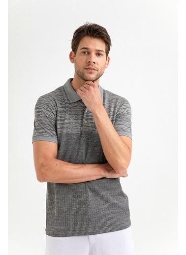 Avva Erkek  Polo Yaka Jakarlı Tişört A01Y1041 Gri